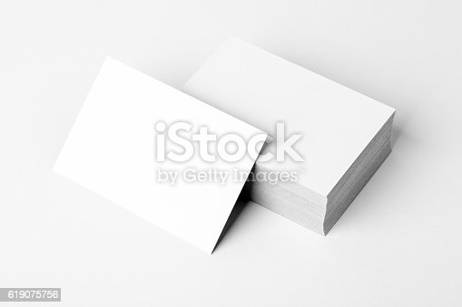 Stack of a blank business card mockup
