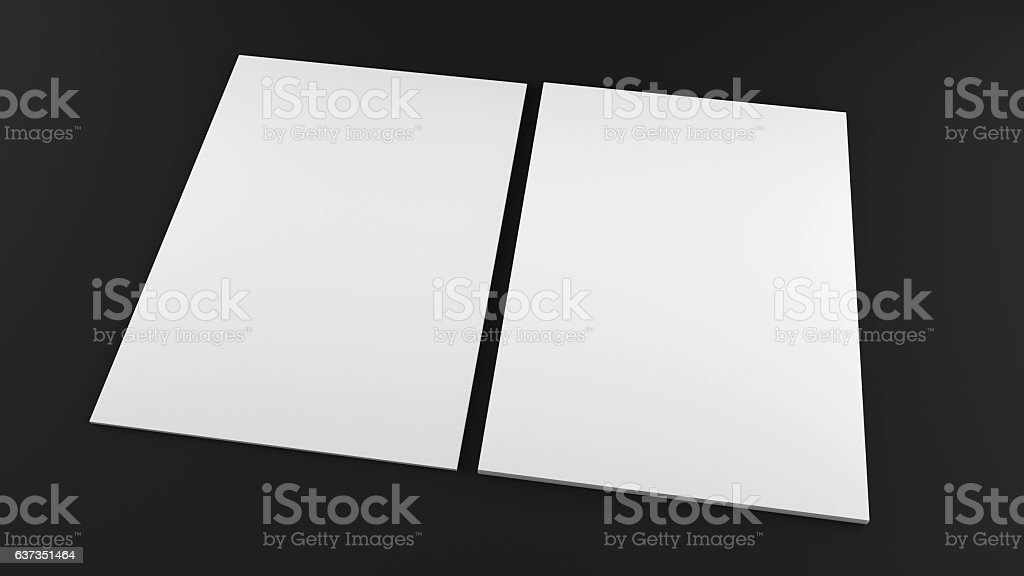 Stack of a4 size white paper sheet on black background. – Foto