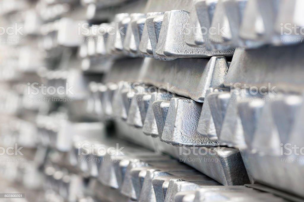 Stack of Aluminum ingots. stok fotoğrafı