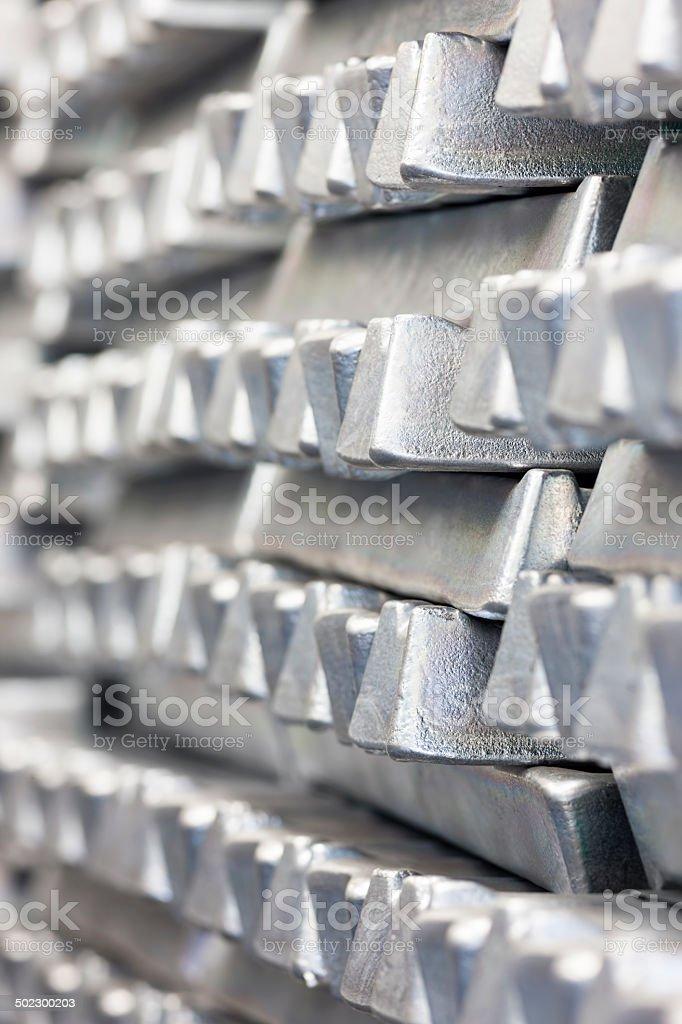 Stack of Aluminum ingots. stock photo
