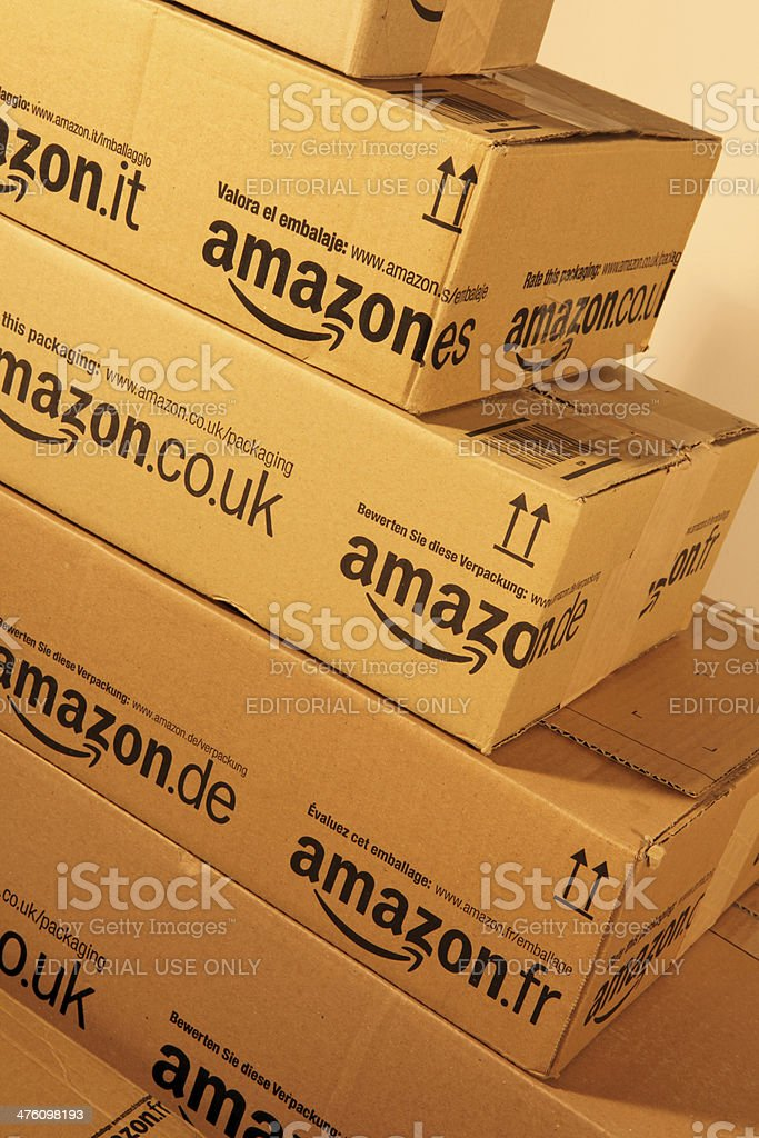 Stack of Amazon.eu boxes stock photo