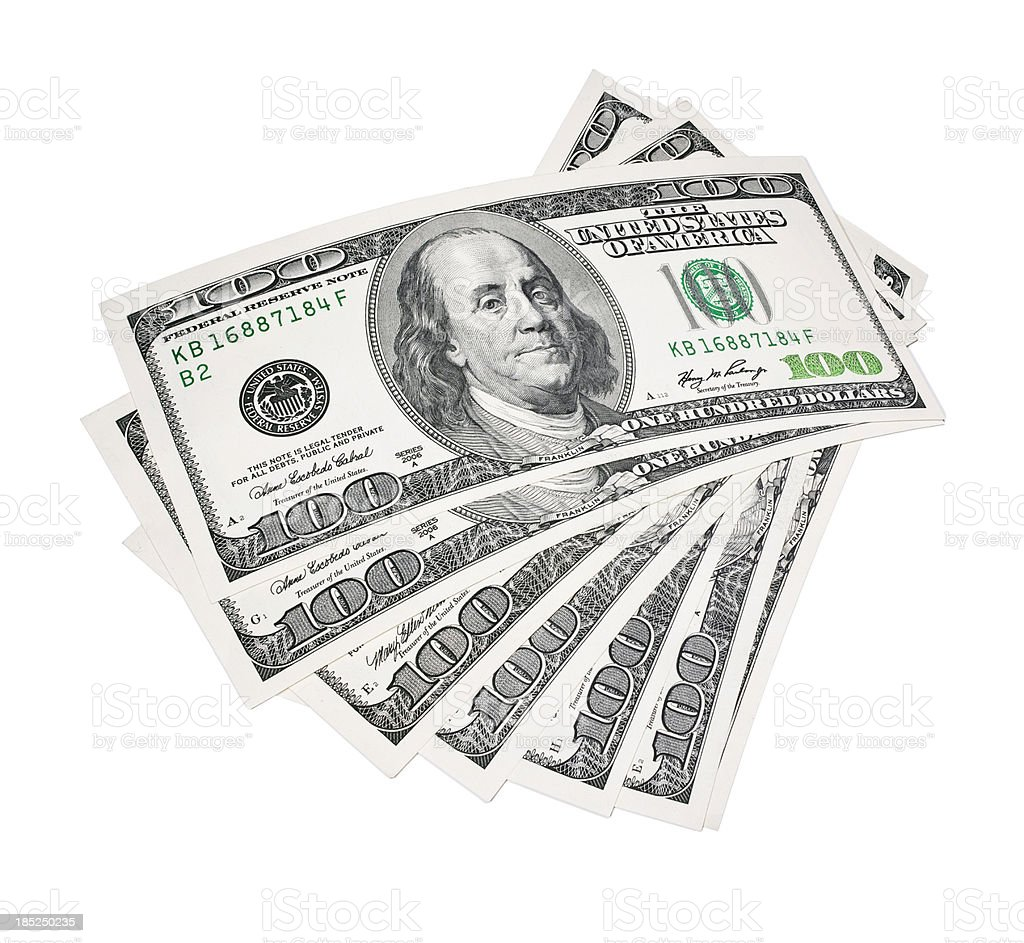 Stack of American $100 bills on a white background stock photo