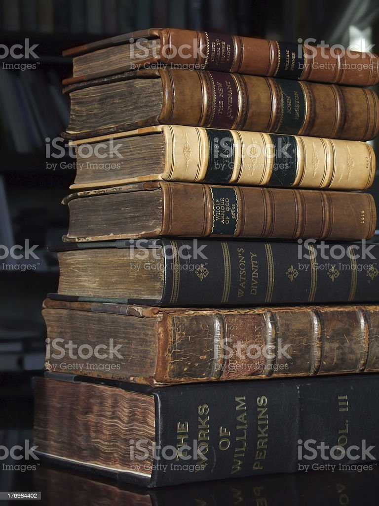 Stack of antiquarian books stock photo