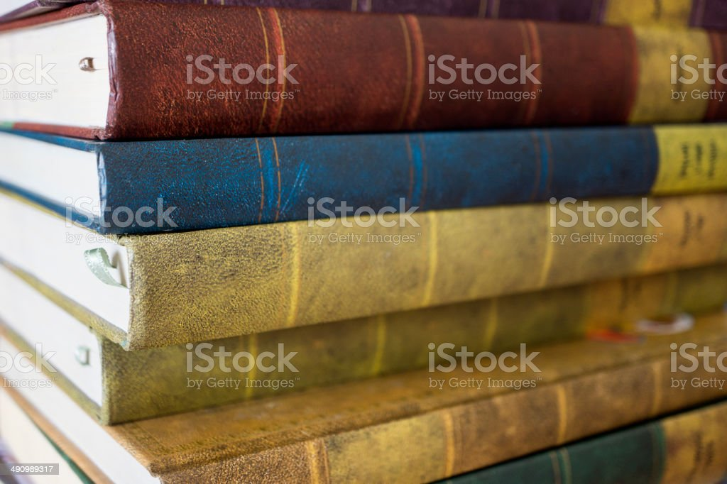 Stack of antique old books royalty-free stock photo