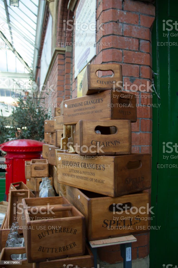 Stack of antique wooden boxes at the atmospheric Tynemouth Market stock photo
