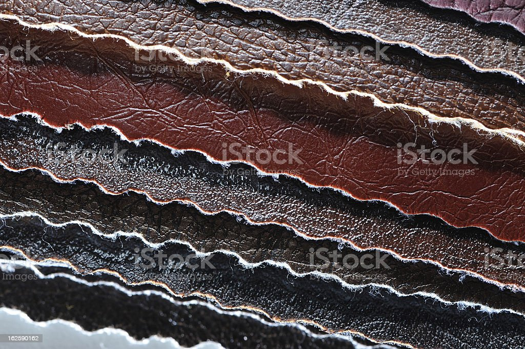 Stack of Artificial Leather Swatches Close-Up royalty-free stock photo
