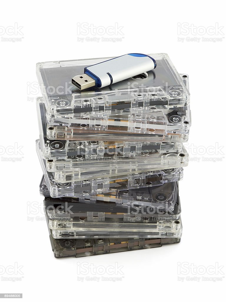 Stack of audio cassettes and flash memory royalty-free stock photo