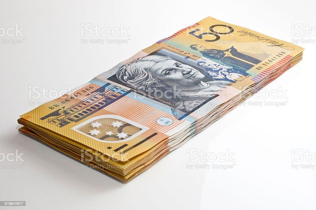 Stack of Australian $50 notes stock photo