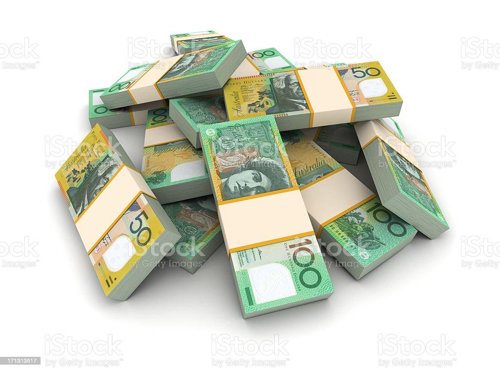 Stack of Australian dollars stock photo