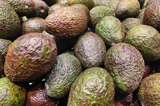 Stack Of Avocados On A Market Stall Stock Photo - Download Image Now