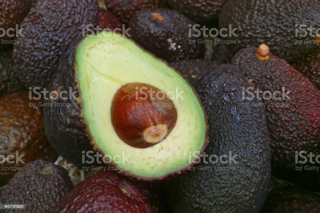Stack of avocados stock photo