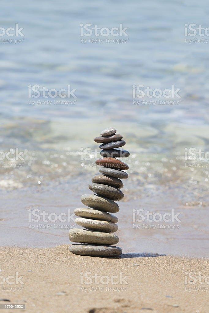 Stack of  balanced pebbles royalty-free stock photo