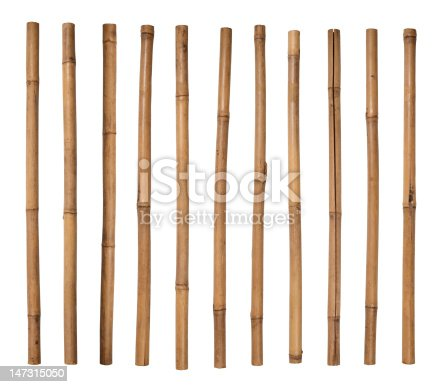 Bamboo sticks on white background