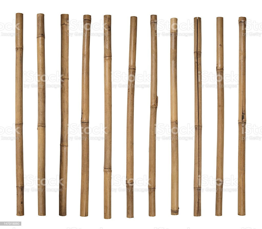 Stack of bamboo sticks lined up side by side stock photo