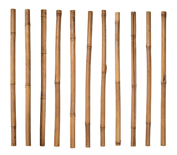 Stack of bamboo sticks lined up side by side圖像檔