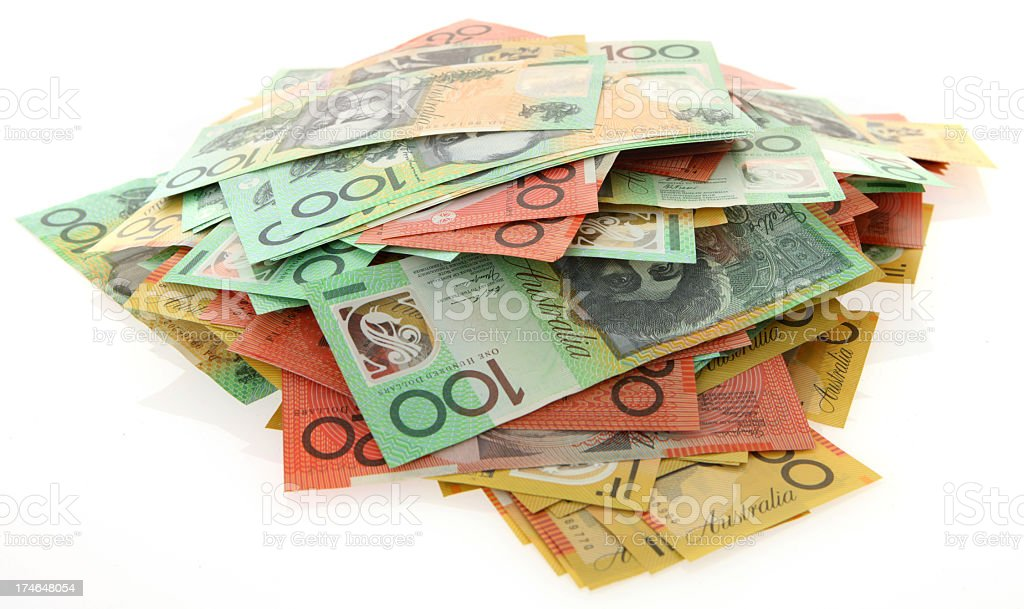 Stack of banknotes isolated on white background stock photo