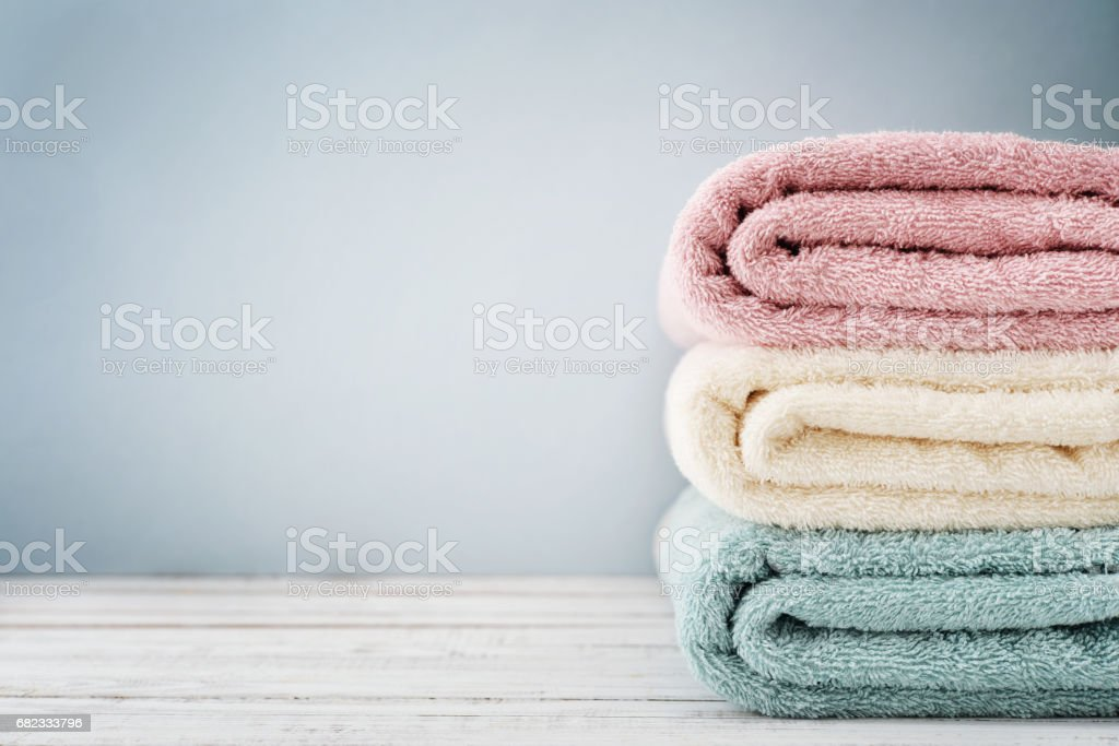 Stack of bath towels - foto stock