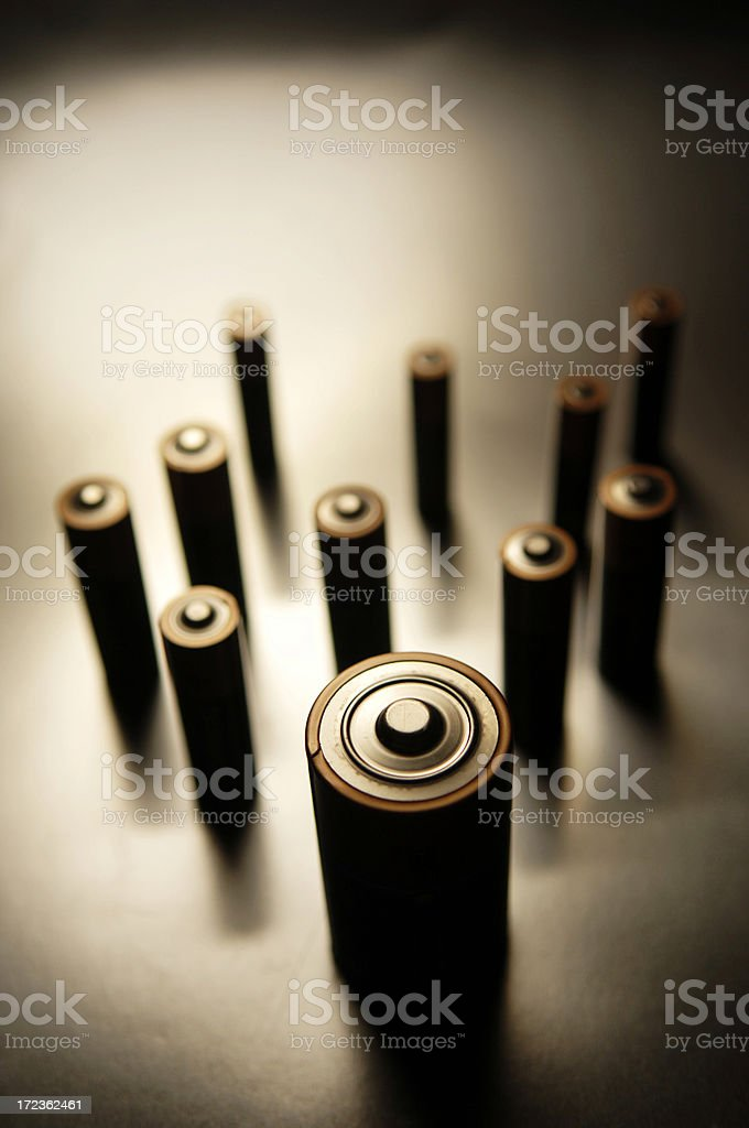 A stack of batteries photographed in a retro manner royalty-free stock photo