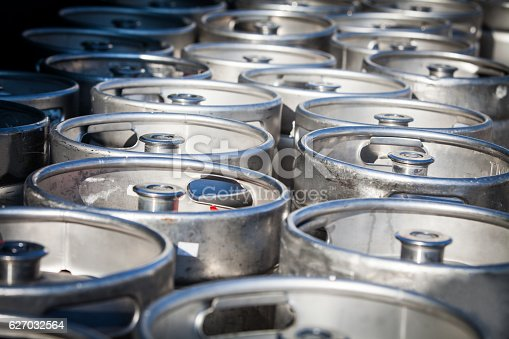 istock Stack of beer barrels 627032564