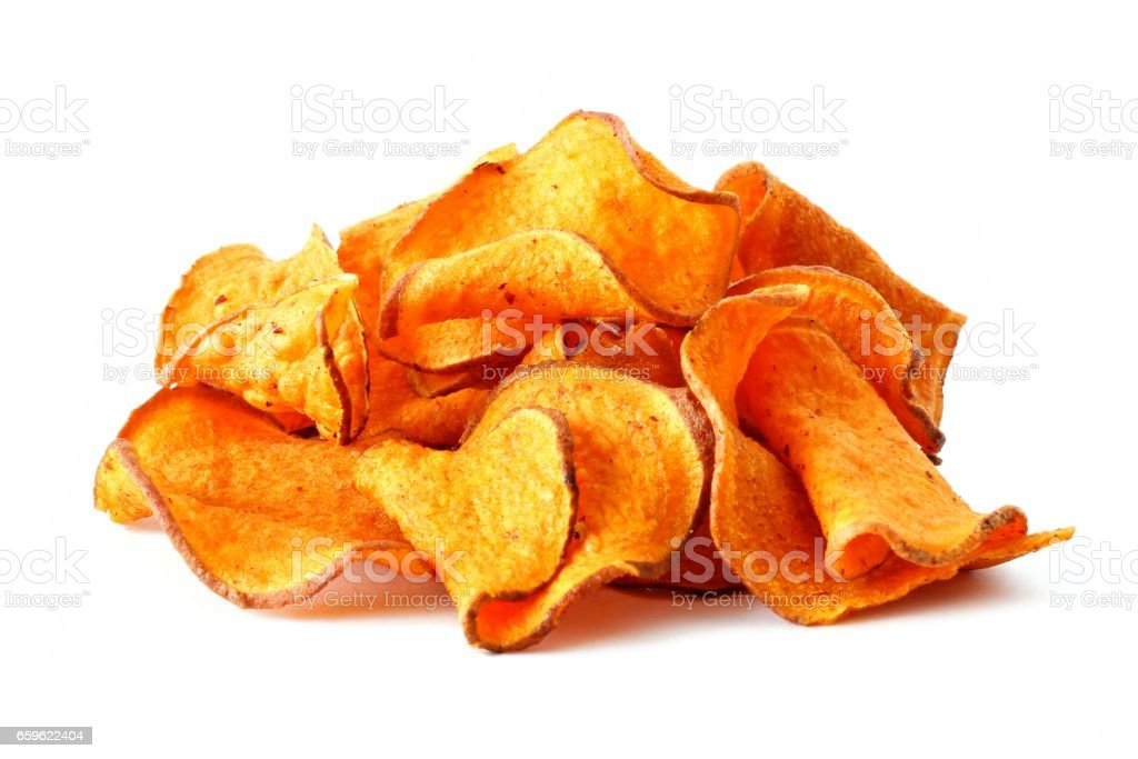 Stack of beet potato chips isolated on white stock photo