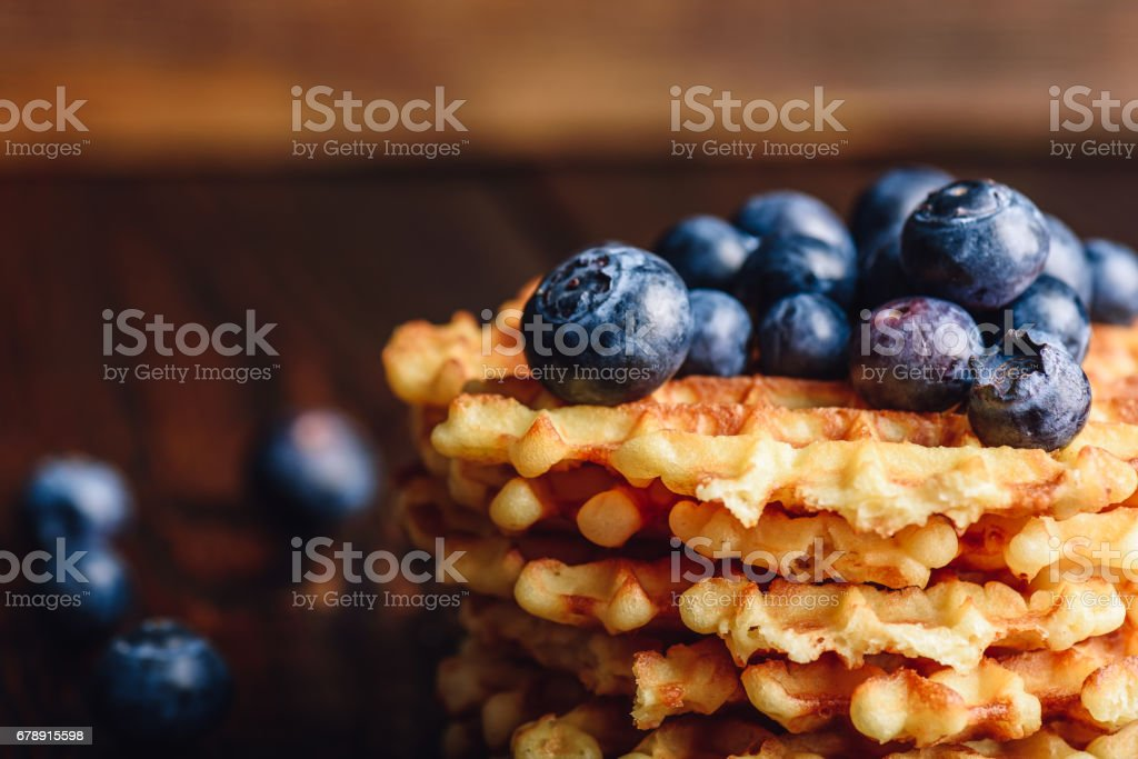 Stack of Belgian Waffles with Blueberry. stock photo
