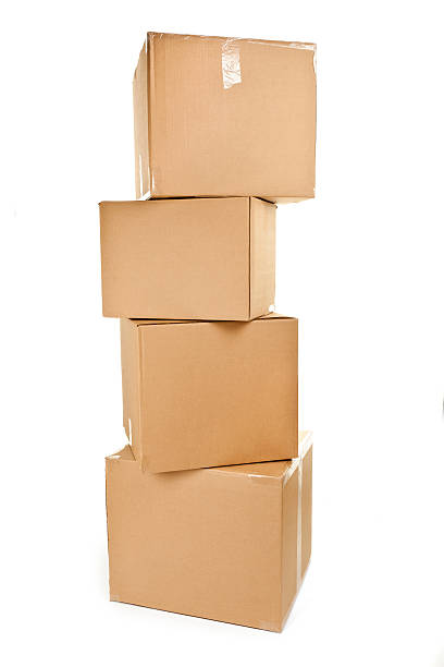 Stack of big cardboard boxes stock photo