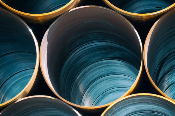Stack Of Big Industrial Metal Pipes stock photo