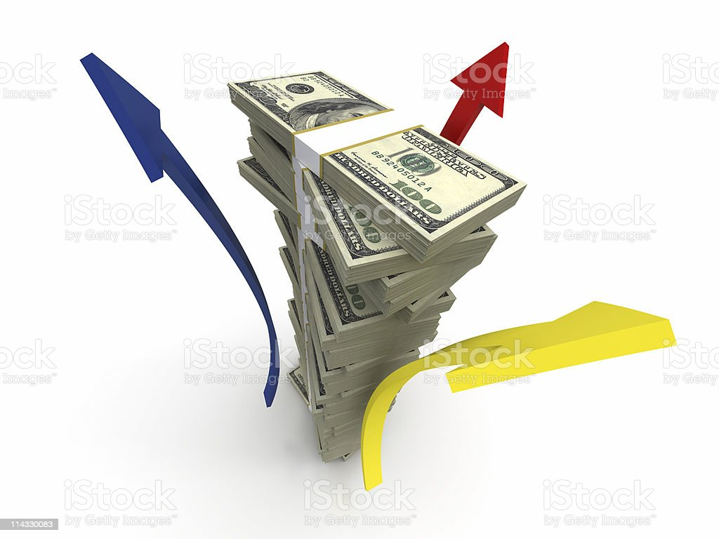 Stack of Bills Blocks with Arrows royalty-free stock photo