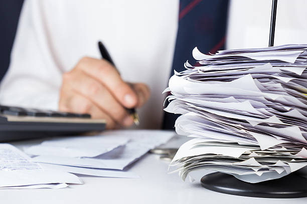 stack of bills - receipt stock photos and pictures