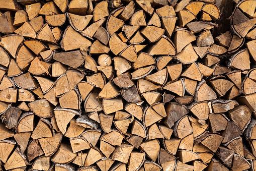 Stack of Birch Firewood