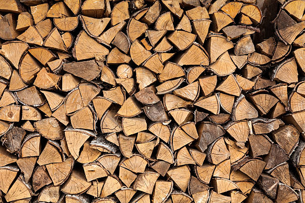 Stack of Birch Firewood stock photo