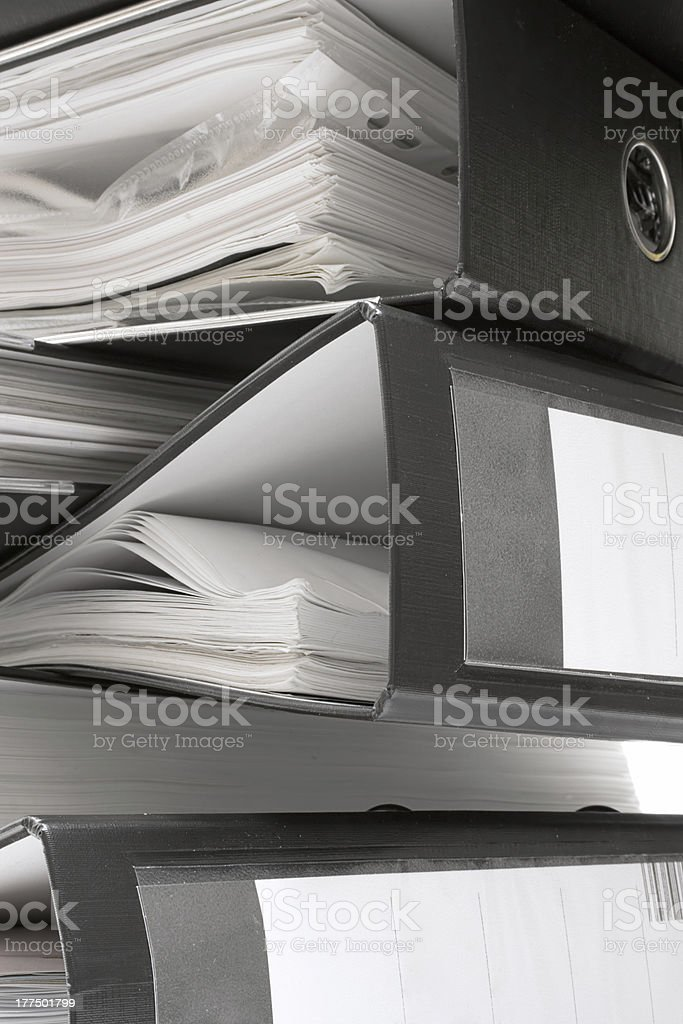 Stack of Black File Folders royalty-free stock photo