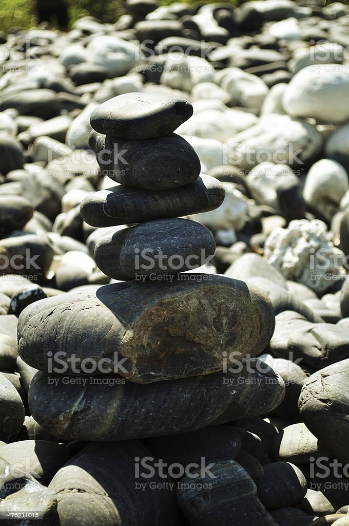 stack of black stones royalty-free stock photo
