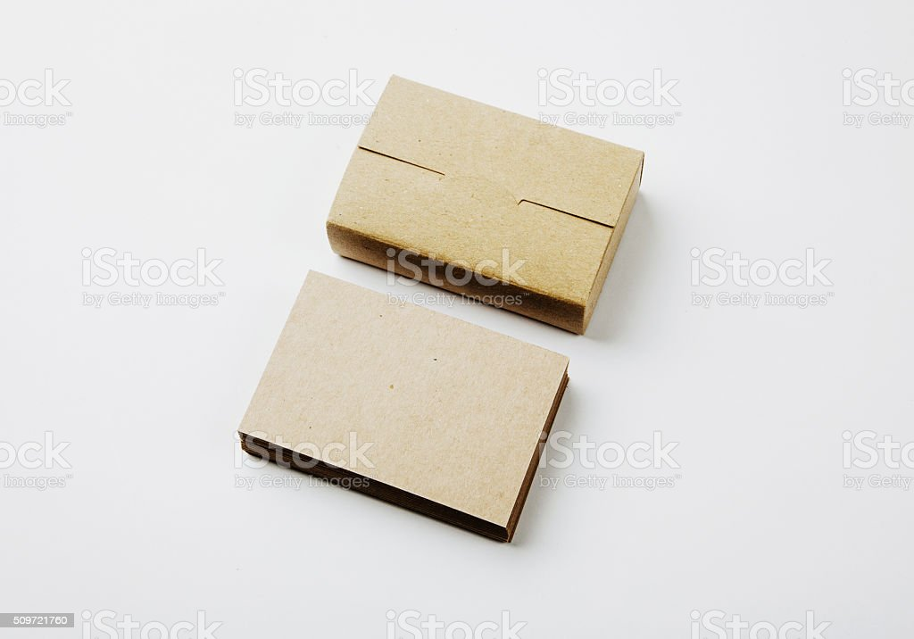 Stack Of Blank Business Cards And Craft Cards Box On Stock Photo ...