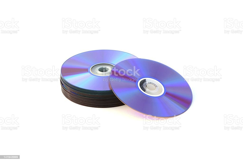 Stack of Blank Data DVDs or Discs isolated stock photo