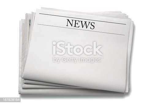 blank newspaper with clipping path