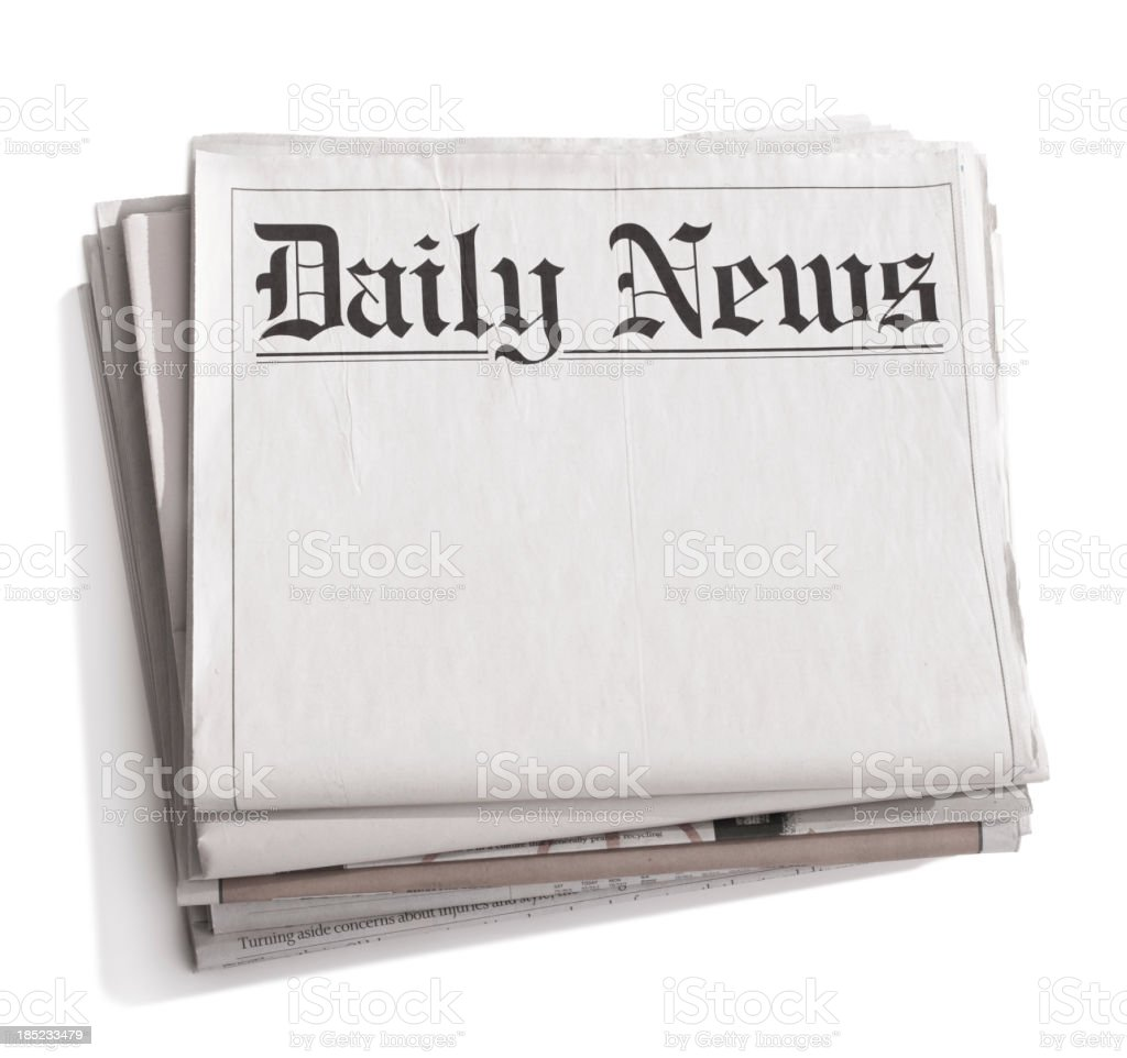Stack of blank newspapers with title 'Daily News' stock photo