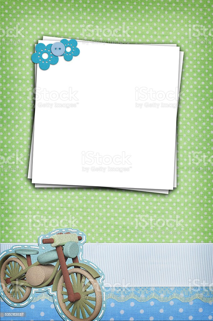 Stack of blank papers on polka dots background stock photo