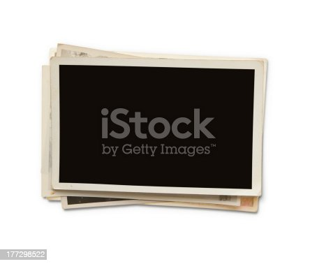 istock Stack of blank photos with clipping path 177298522