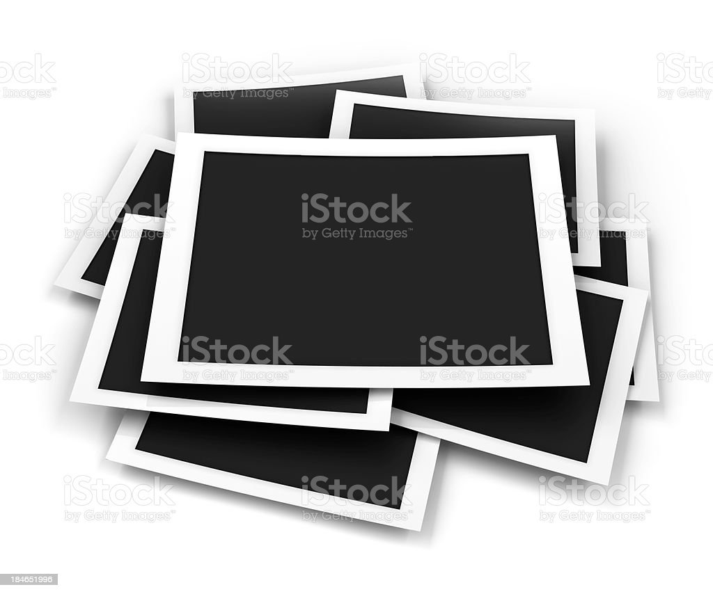 Stack of blank picture frames, 3d render stock photo