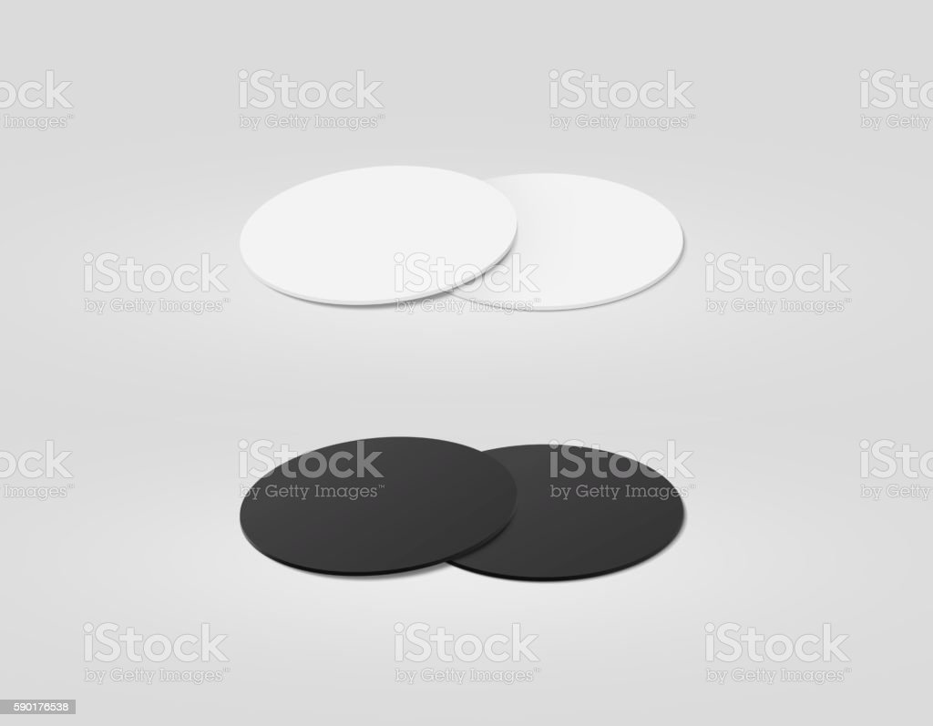 Stack of blank white and black textured beer coasters mockup, stock photo