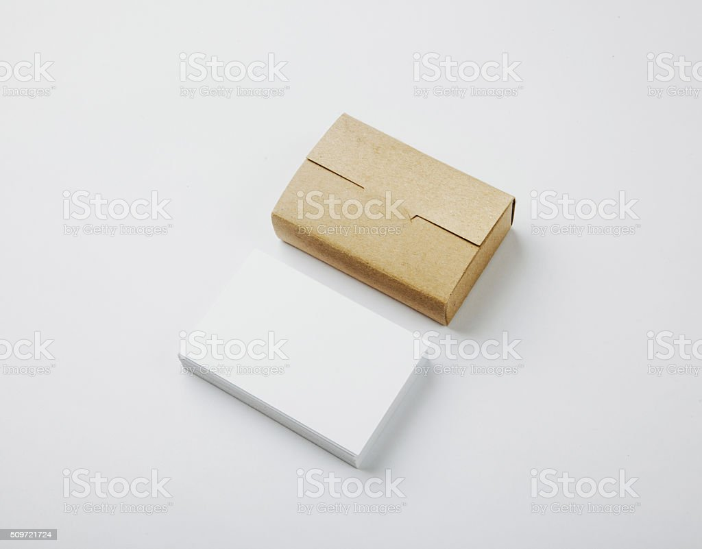 Stack Of Blank White Business Cards And Craft Cards Box stock photo ...