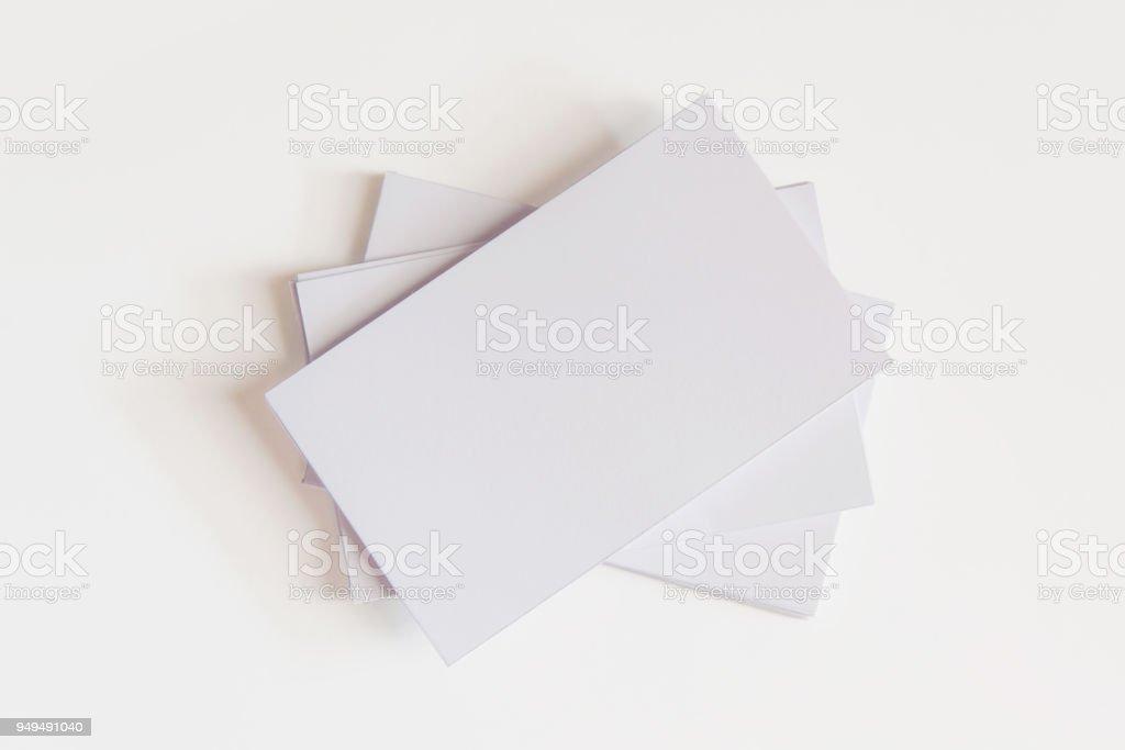 Stapel Von Leeren Weißen Visitenkarten Mockup Visitenkarten
