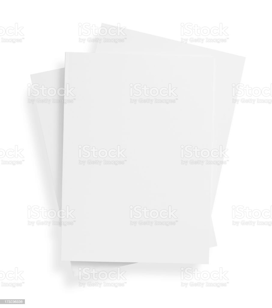 Stack of blank, white magazine covers over white background stock photo