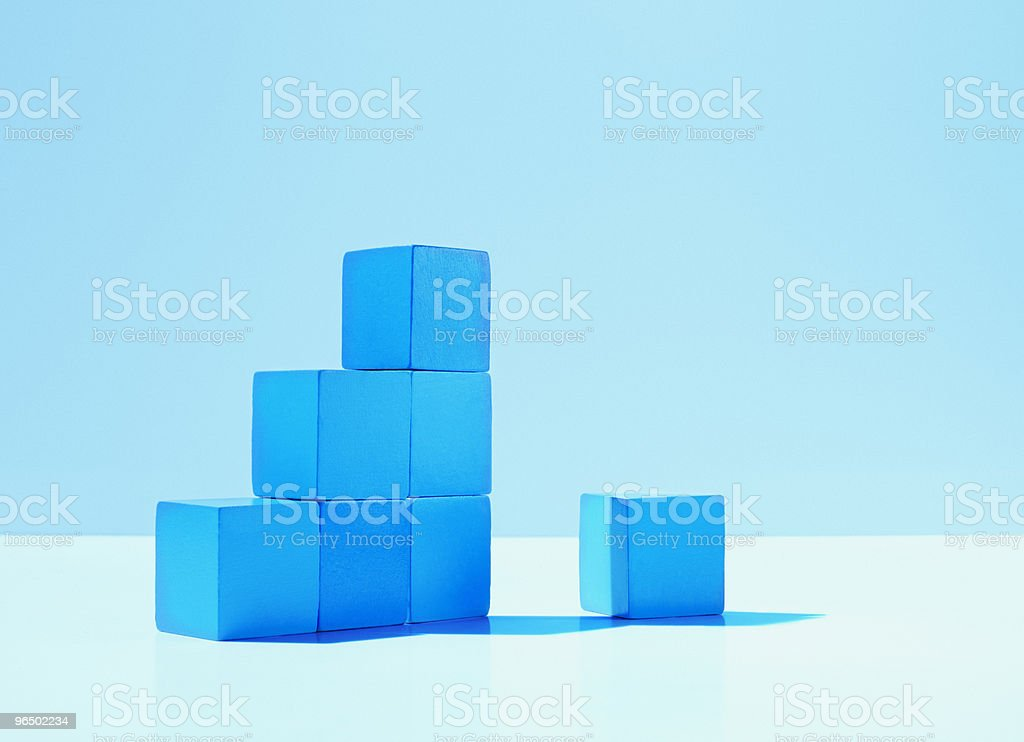 Stack of blue blocks stock photo