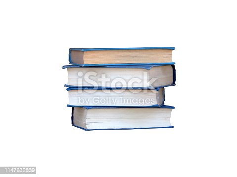 istock Stack of blue books isolated on white background 1147632839