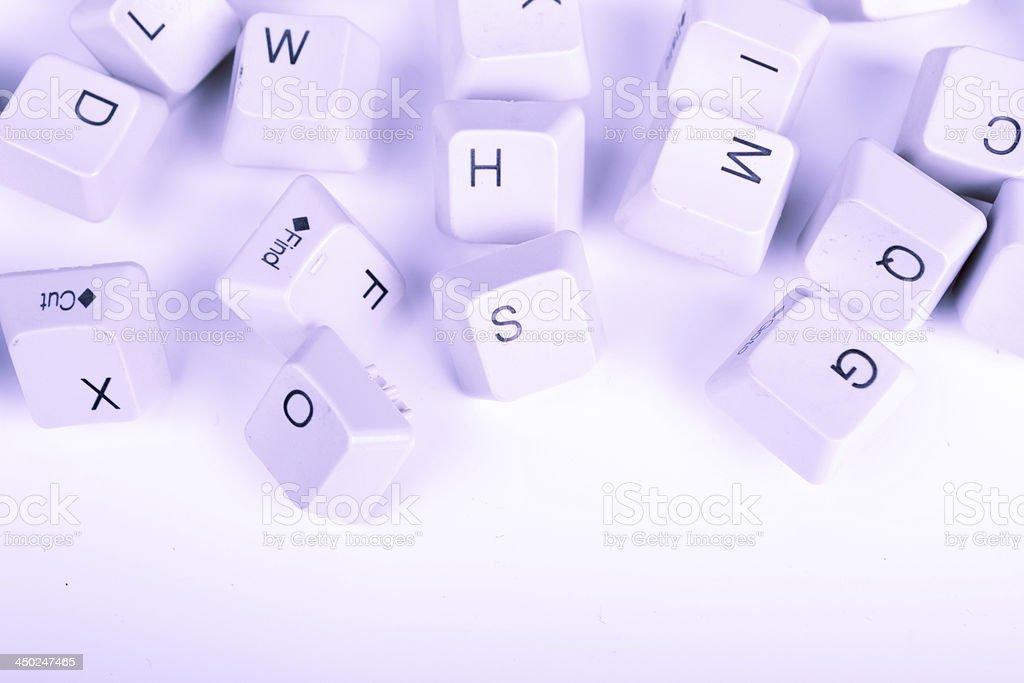 Stack of blue Computer Keyboard keys stock photo