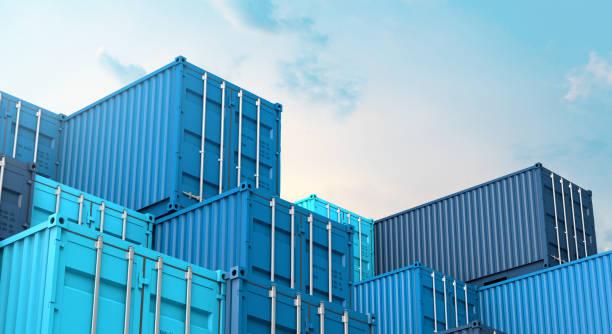 pilha de caixa azul dos recipientes, navio de frete da carga para a exportação 3d da importação - recipiente - fotografias e filmes do acervo