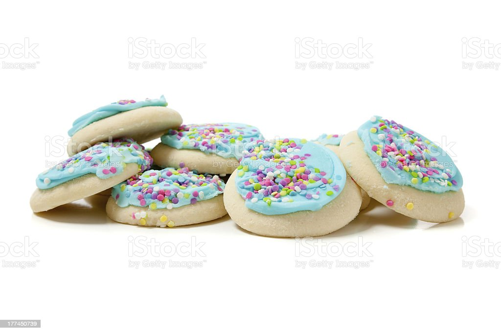 Stack of blue sugar cookies on a white background stock photo