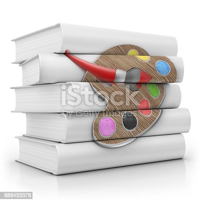 istock Stack of Books about Art Palette 689453378